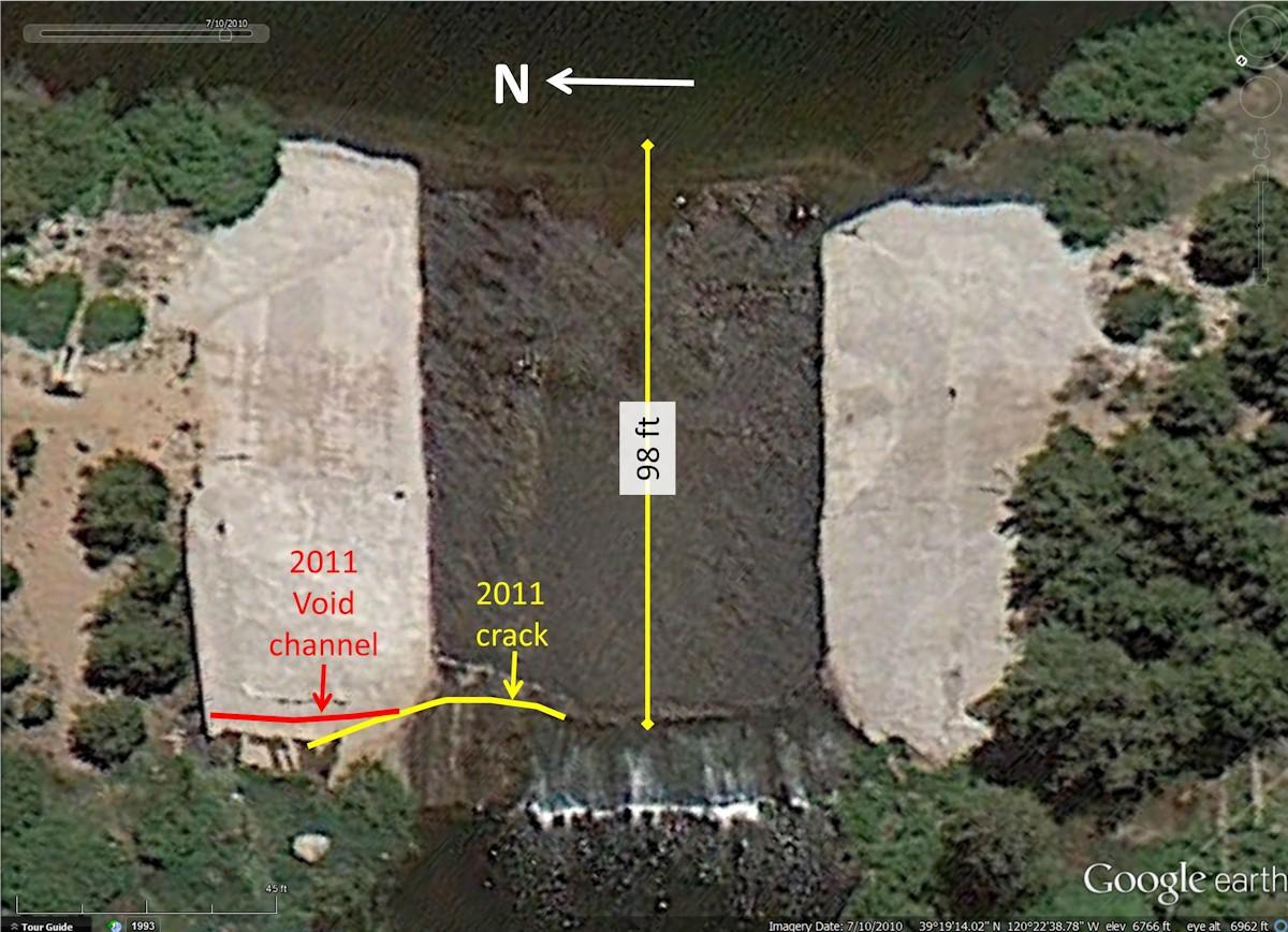 Figure 2. Overhead sat map of Van Norden Dam spillway