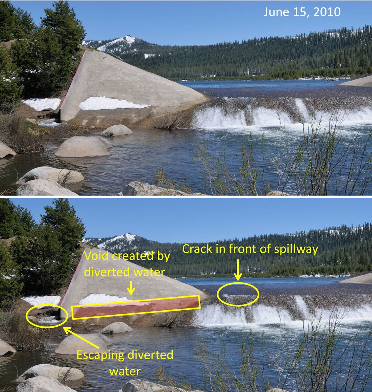Figure 1. Van Norden spillway on June 15, 2010