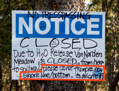 No trespassing sign at Van Norden Meadow-01 10-22-15
