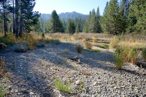 Yuba dry riverbed in Setember upstream of Van Norden meadow