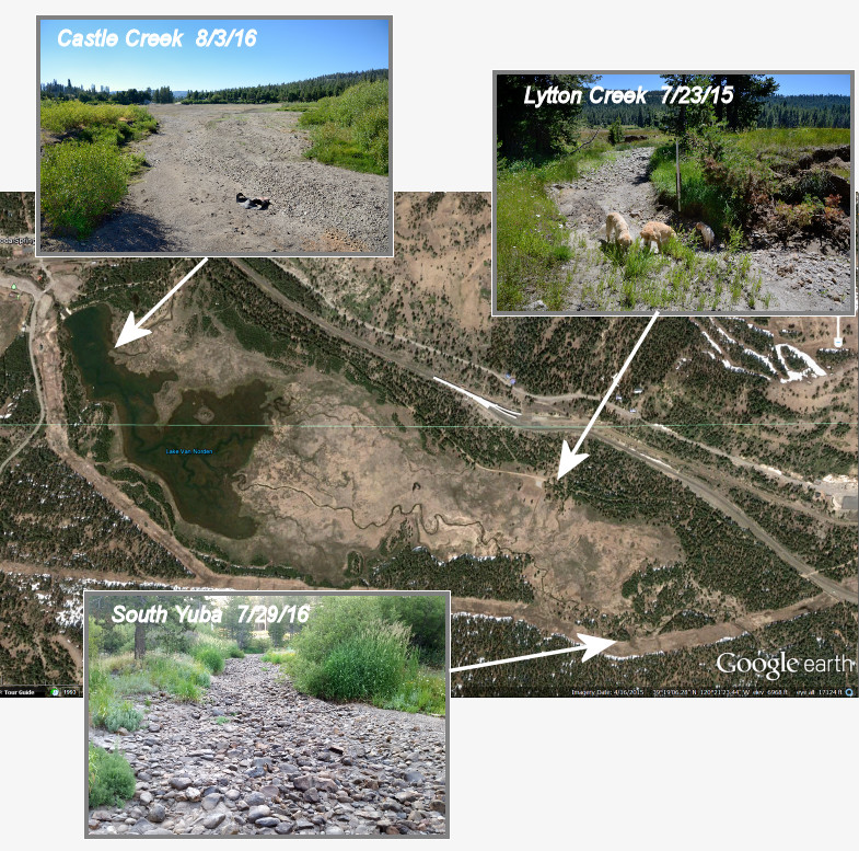 Figure 1 - The three input creeks into the Summit Valley have all gone dry by August 1.