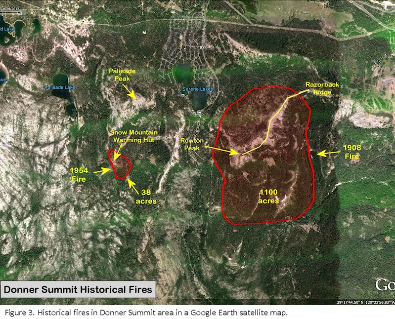Donner Summit historical fires satmap