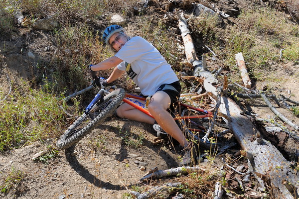 LC after tree fell on her bike on Killys Cruise in Royal Gorge area-09 9-6-13