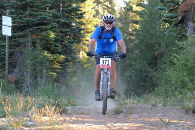 Cliff riding down Castle Peak trail in BioRhythm mtn bike race at Royal Gorge-10-2 8-11-12