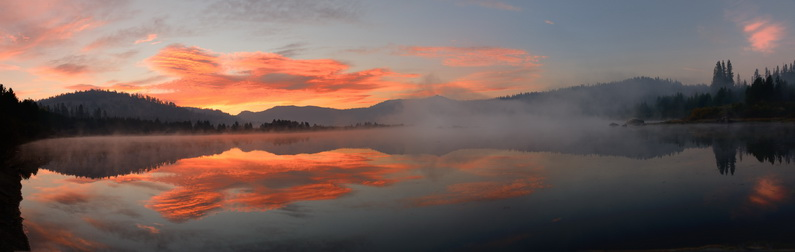 Dawn at Lake Van Norden from the dam pano3 9-23-14
