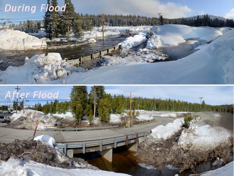 Soda Springs Rd bridge during and after flood